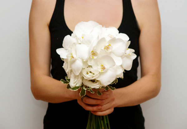http://www.ocwedding.org/ Flowers Newport Beach White Bouquet Black Dress